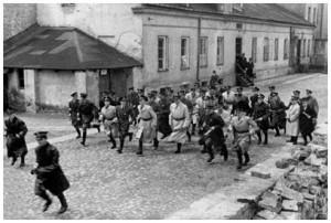 zsidókból álló gettó-rendőrség rohama