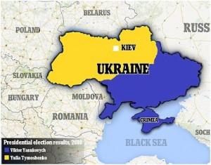 Utolsó választás eredményei Sárga = Timisenko Kék = Janukovics